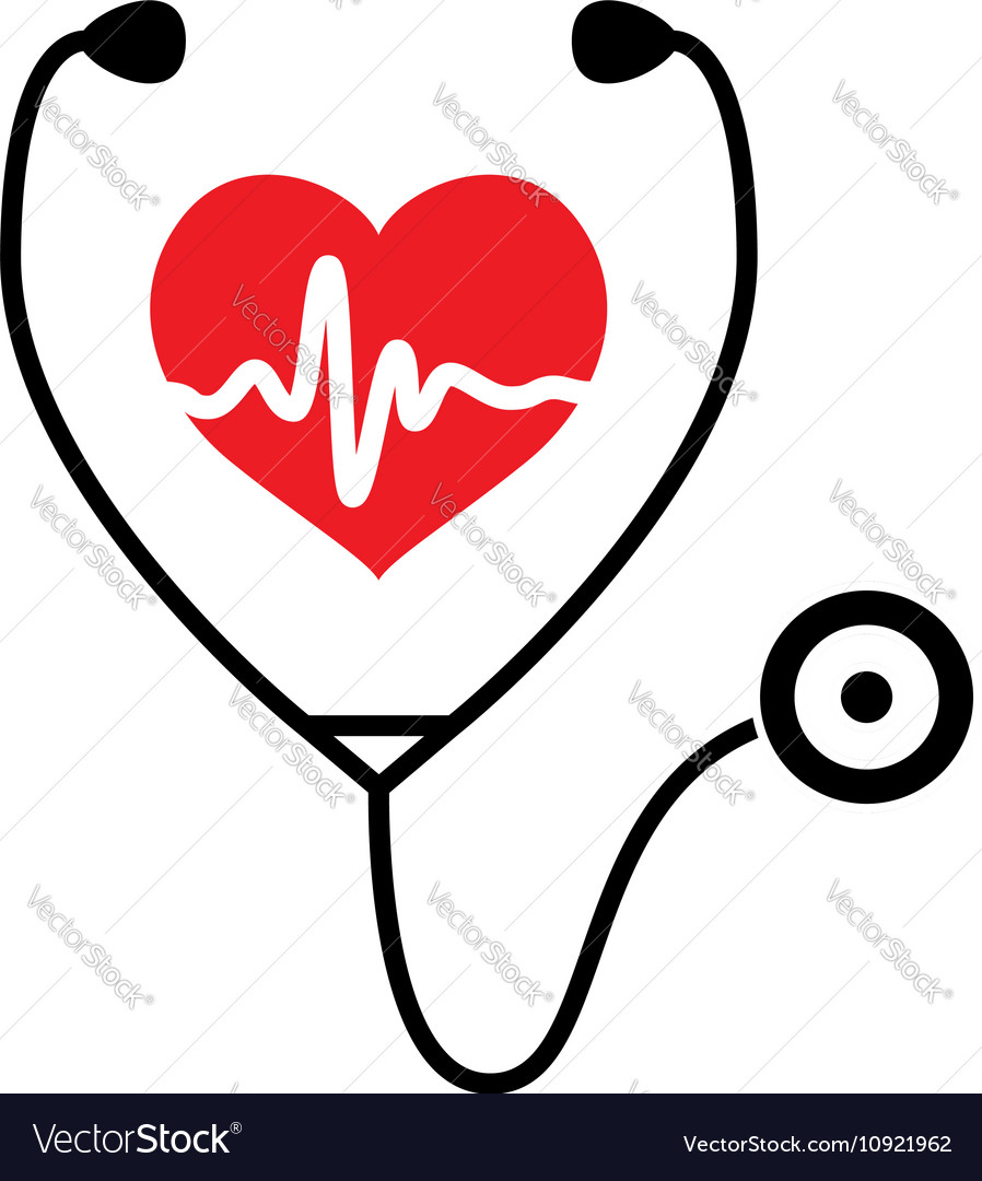 Heart heartbeat stethoscope Royalty Free Vector Image