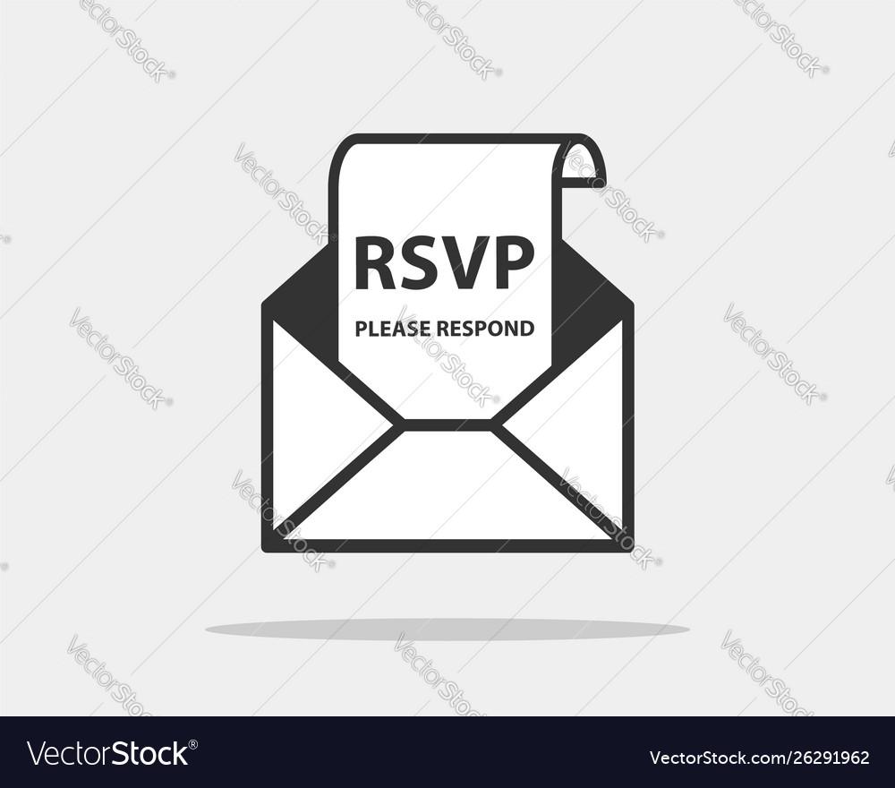 Rsvp icon please respond letter in envelop