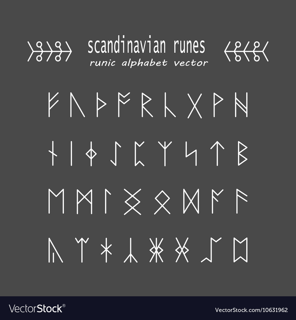 Rune Alphabet Occult Ancient Symbols Royalty Free Vector