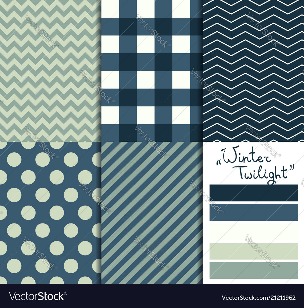 Set of 5 simple seamless geometric patterns