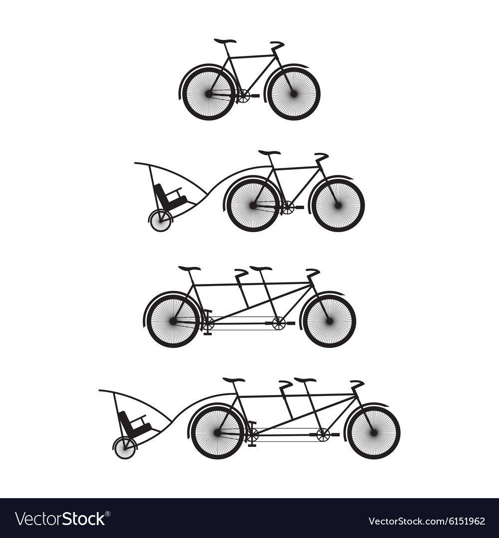 Silhouettes of bicycles and tandem-bicycles