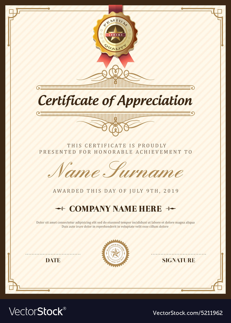 Vintage retro frame certificate background design vector image yelopaper Image collections
