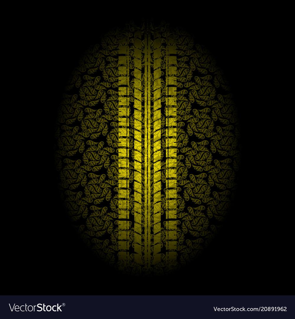 Yellow leaves tire tracks