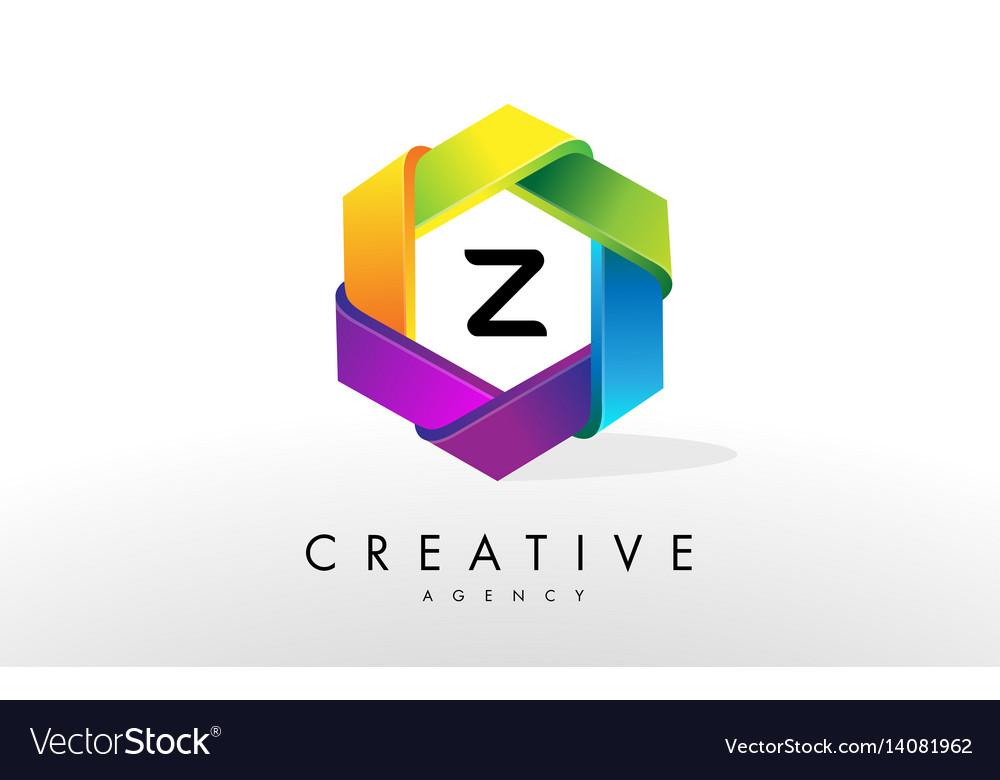 Z letter logo corporate hexagon design