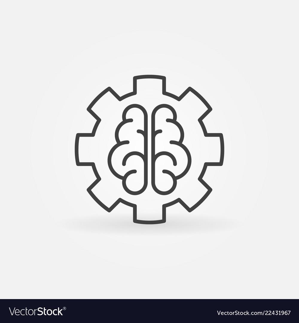 Ai brain in gear concept outline icon or design