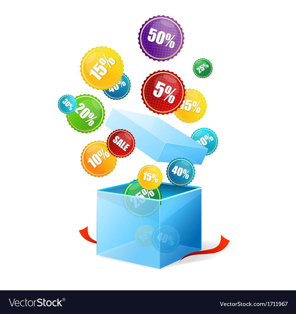 Box and sale labels vector image
