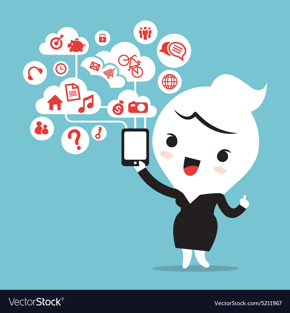 Business woman with smartphone cloud social media