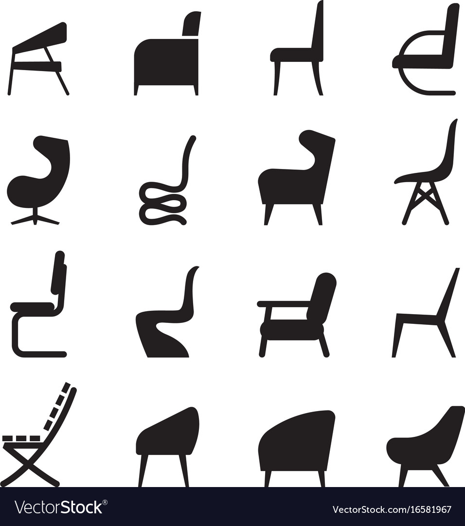 Chair icons set side view Royalty Free Vector Image