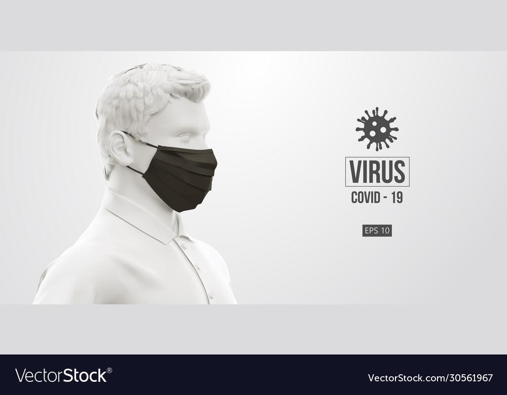 Coronavirus covid19-2019 man in white black mask