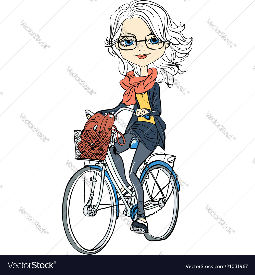 Cute Girl Rides A Bicycle Royalty Free Vector Image