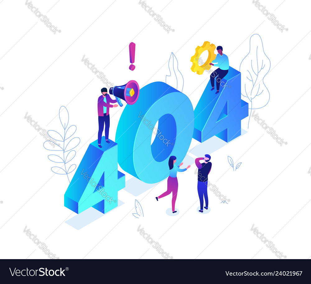 Error 404 page - modern colorful isometric