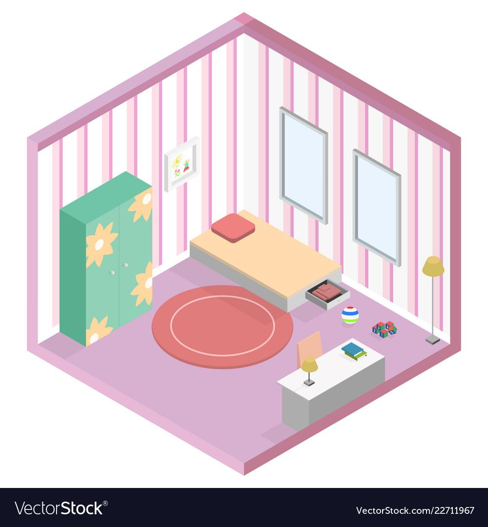 Girl kid room isometric