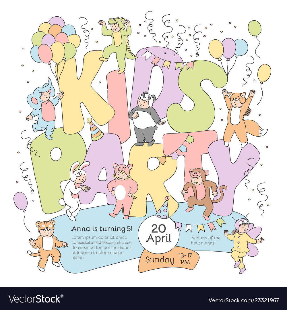 Kids party poster with fancy dress children