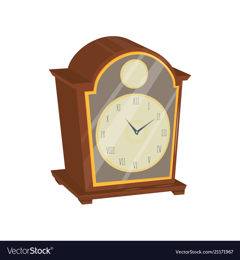 Old clock with wooden case glass door and golden
