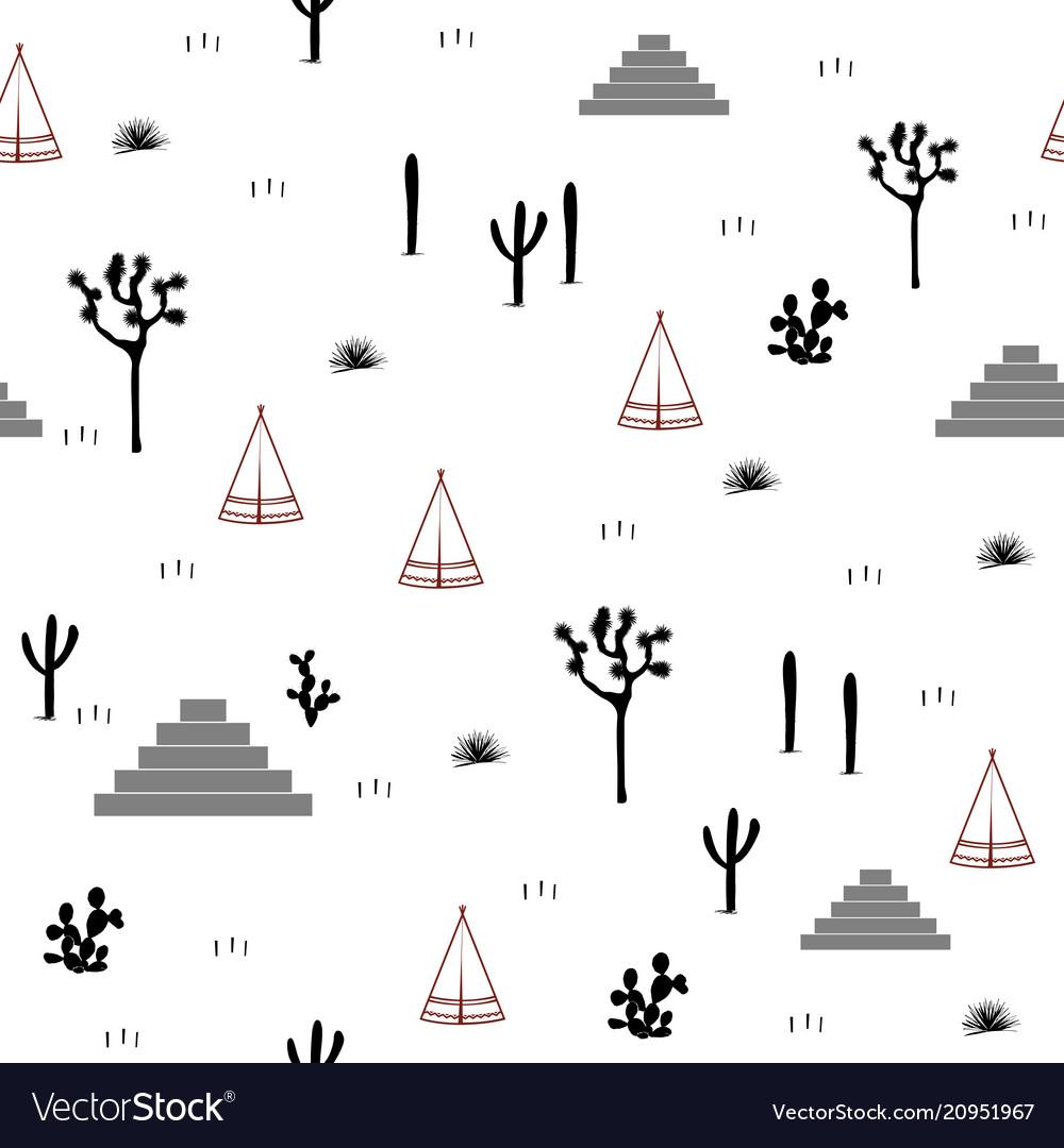 Pyramids indian tents saguaro agaves and opuntia