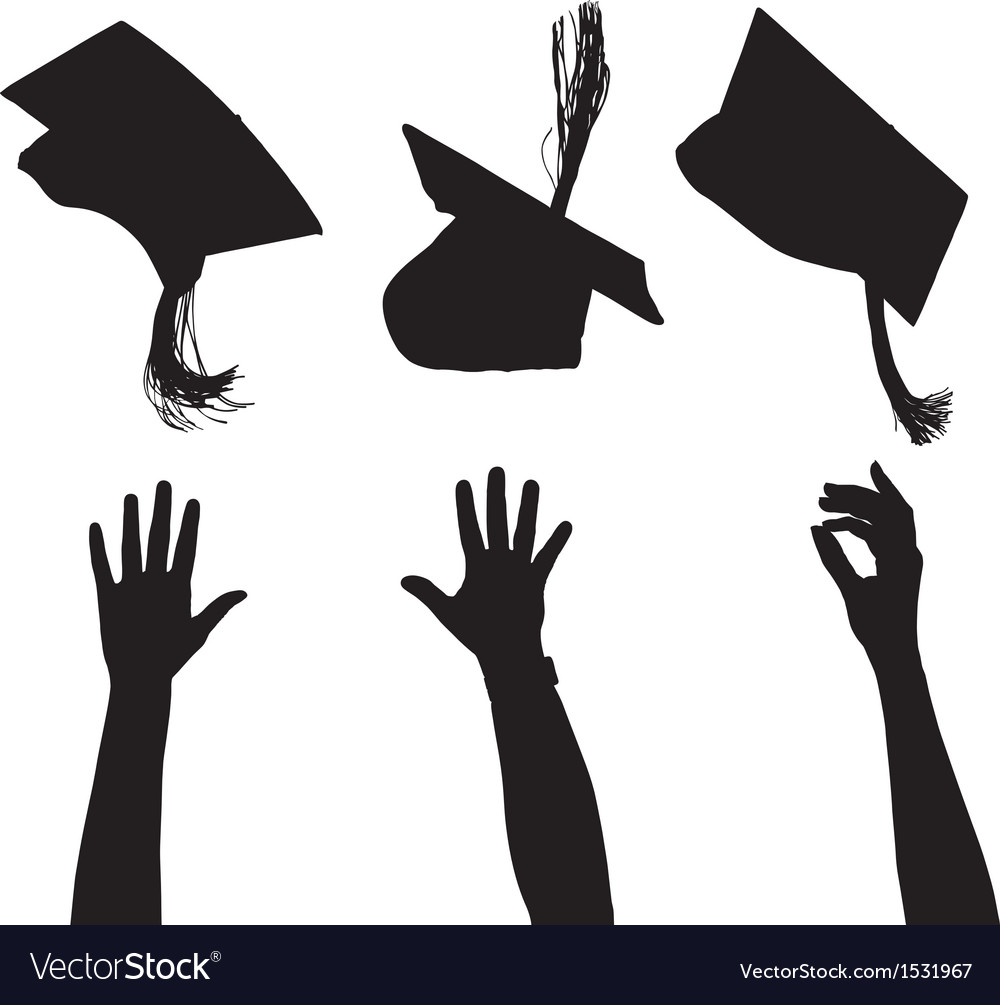 Tossing mortarboard Silhouette