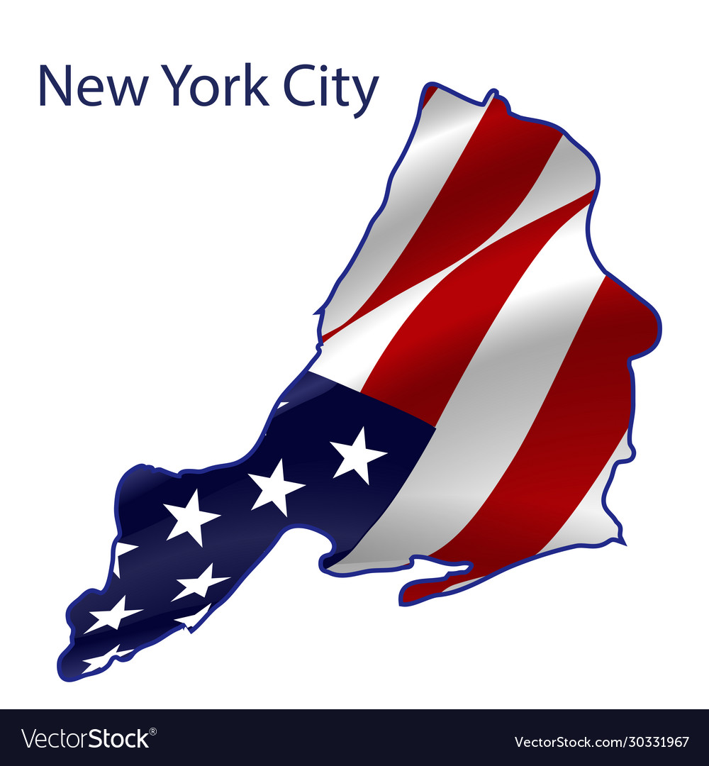 United states new york city full american flag vector