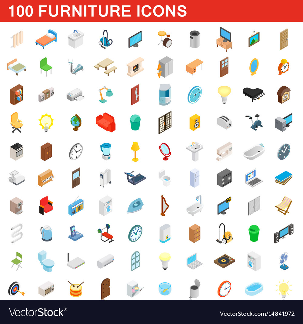 100 furniture icons set isometric 3d style