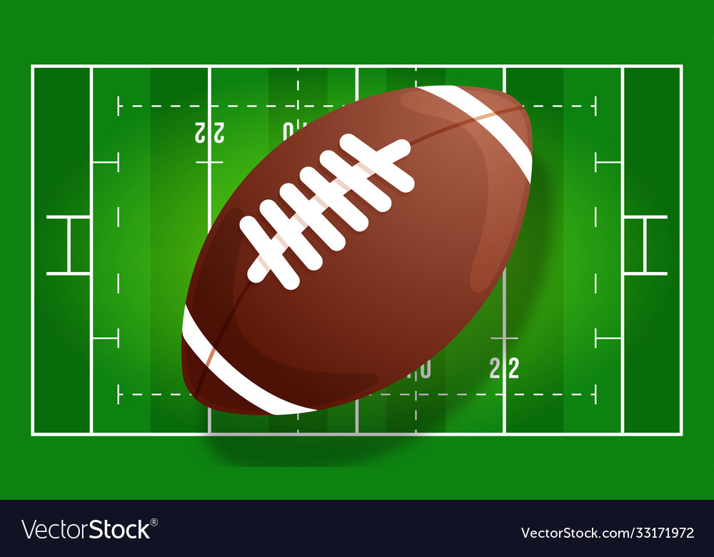American football field with realistic ball line