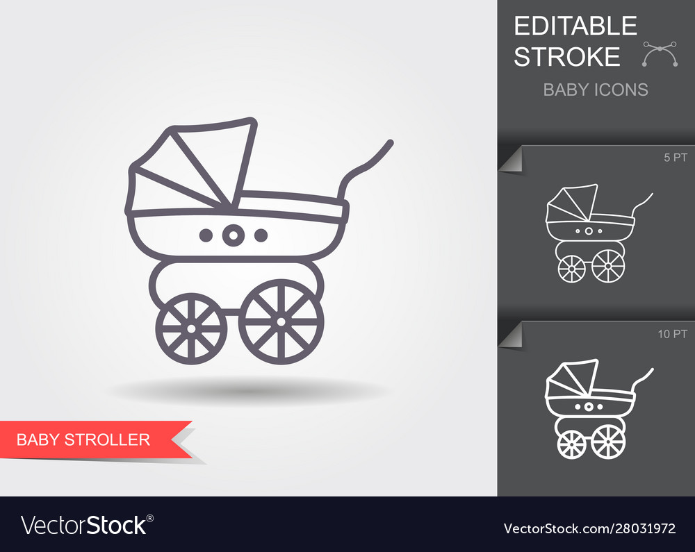 Bastroller line icon with editable stroke