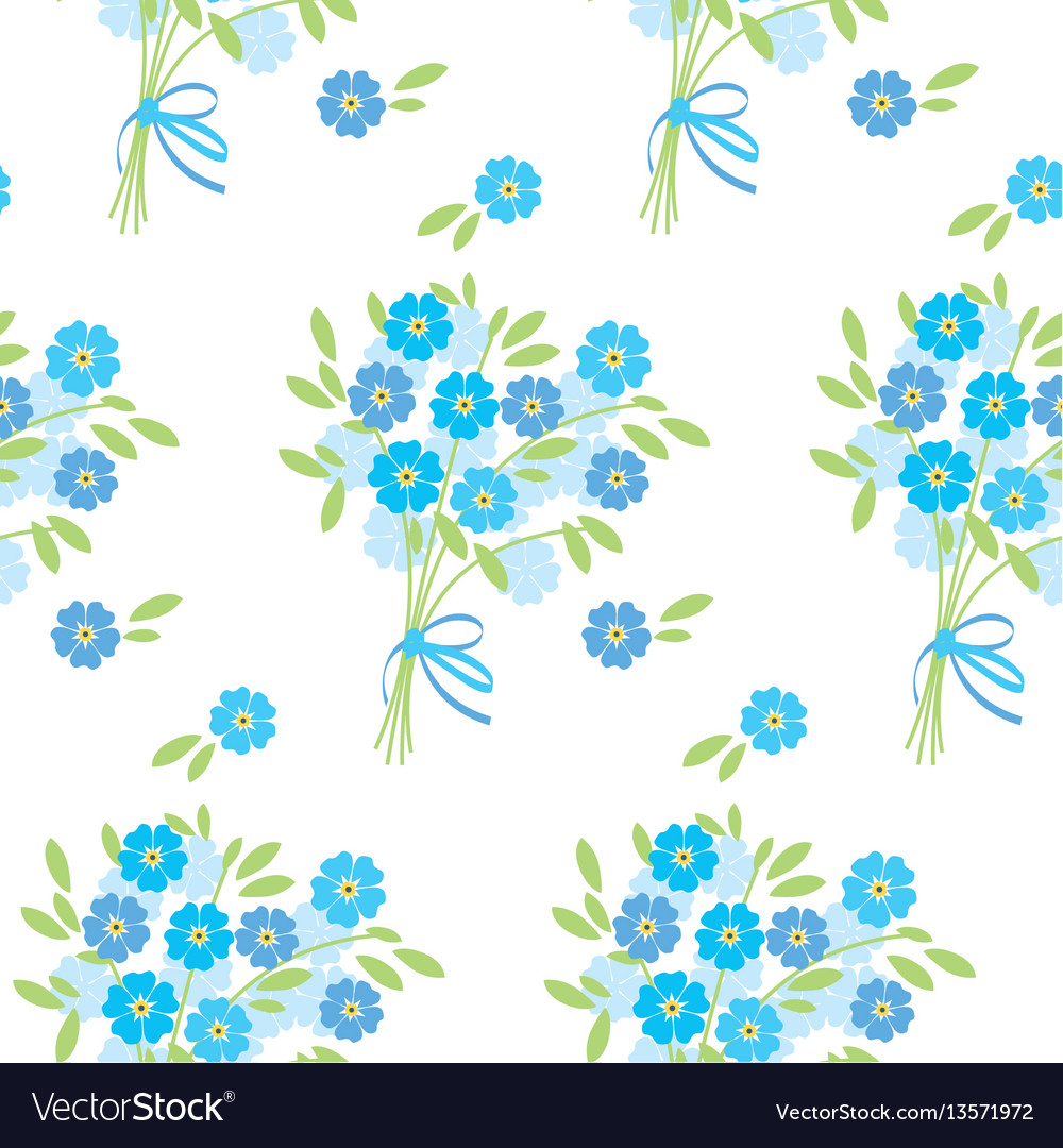 Blue tender forget-me-not flowers in retro style