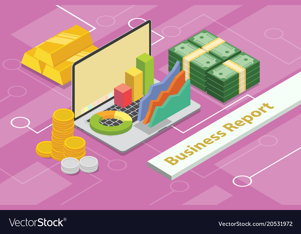 Business report concept 3d isometric with laptop