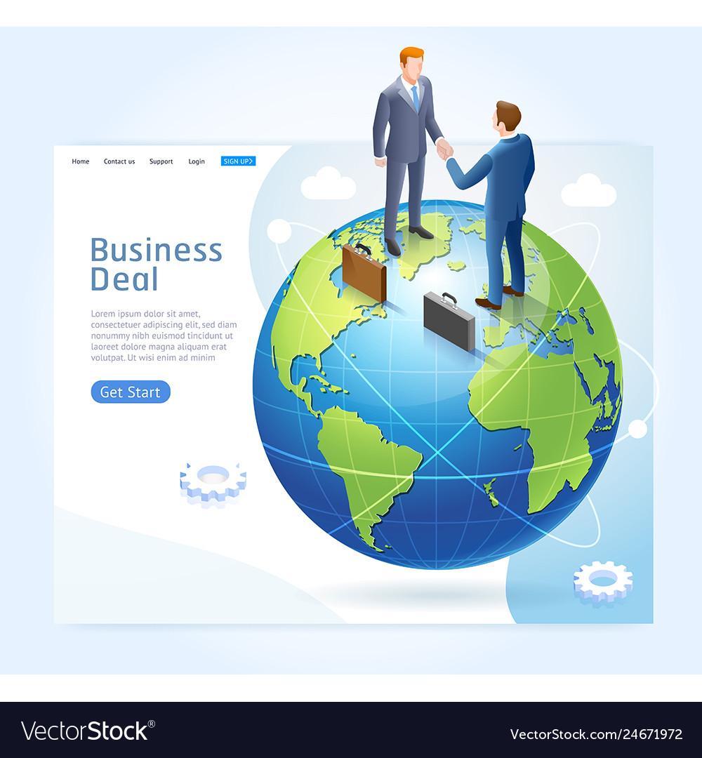 Businessman handshake with globe earth background