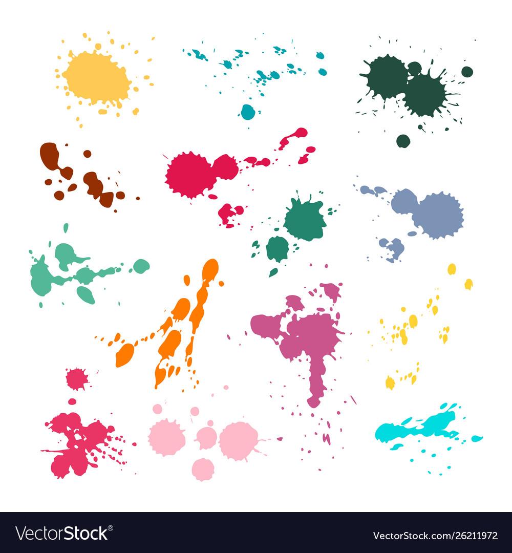 Color ink spot set splash and drop colours