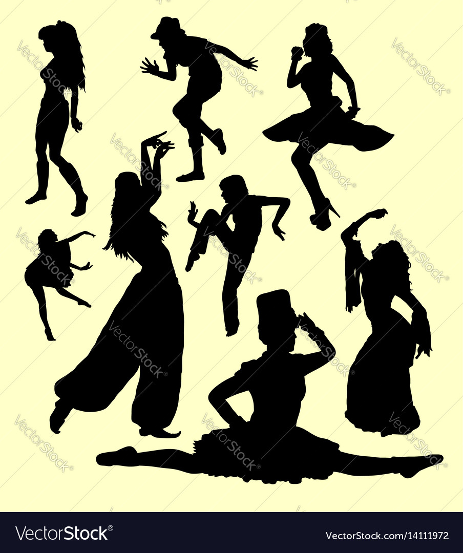 Dancing action silhouette
