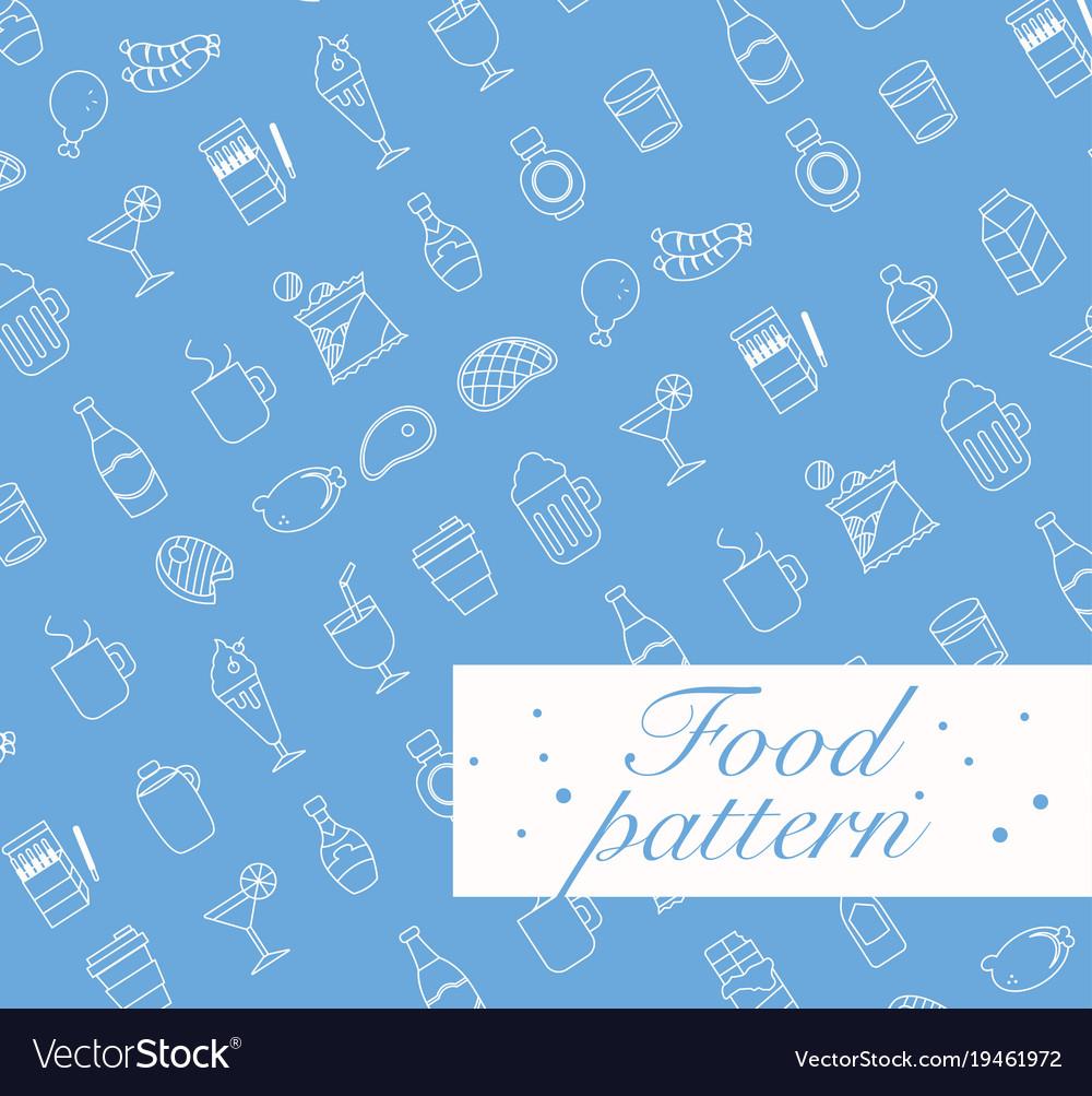 Food icons set seamless pattern