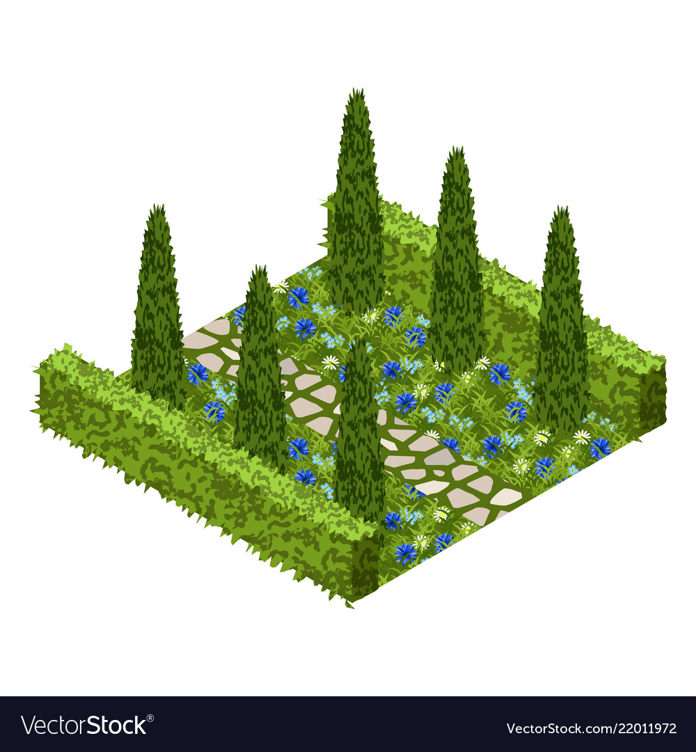 Garden Asset With Topiary Bushes Flowers Grass Vector Image