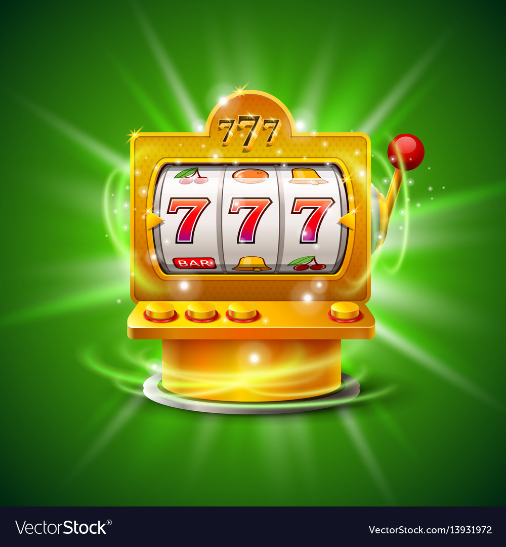 Golden slot machine wins the jackpot isolated on