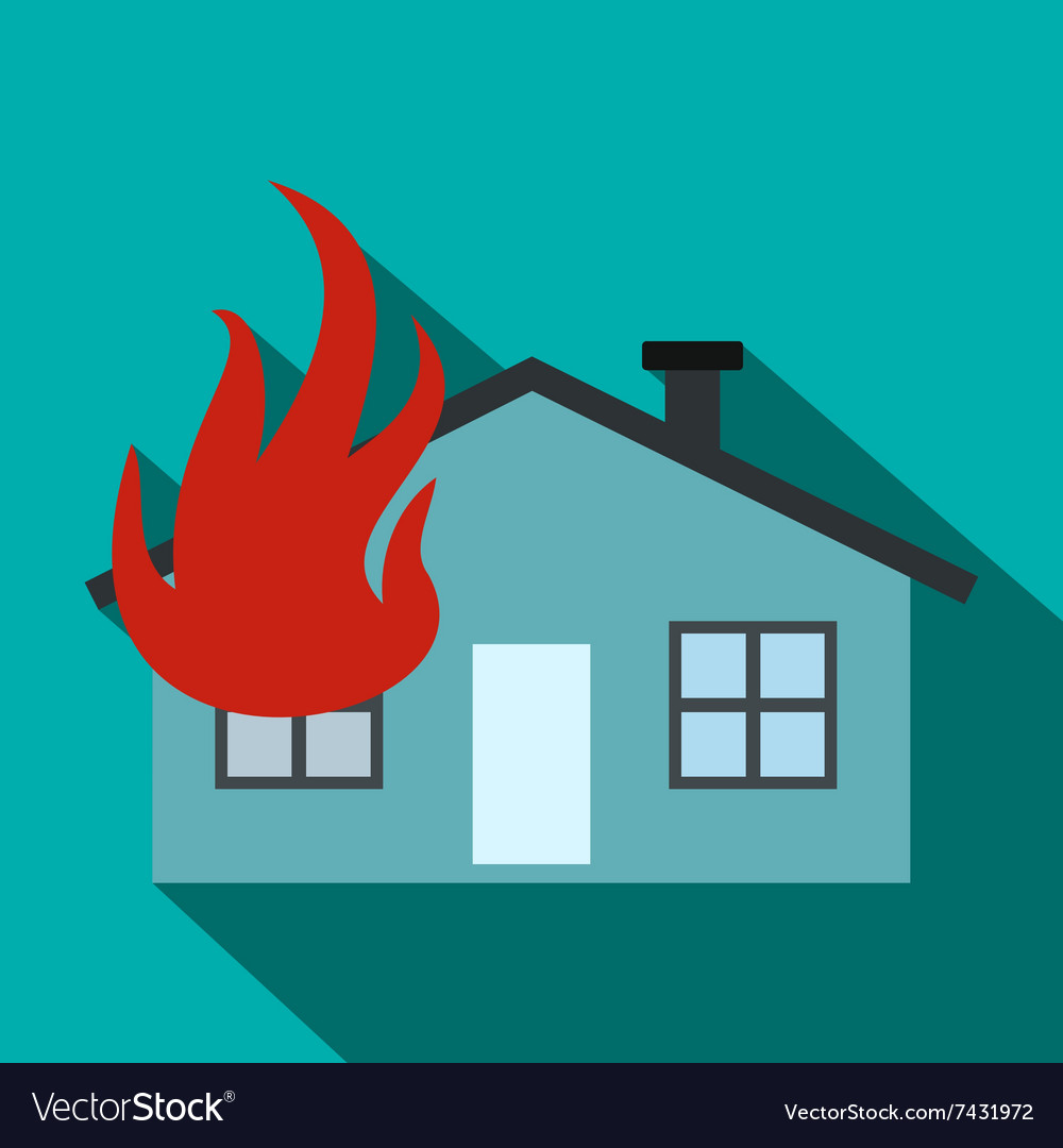 House on fire flat icon vector image
