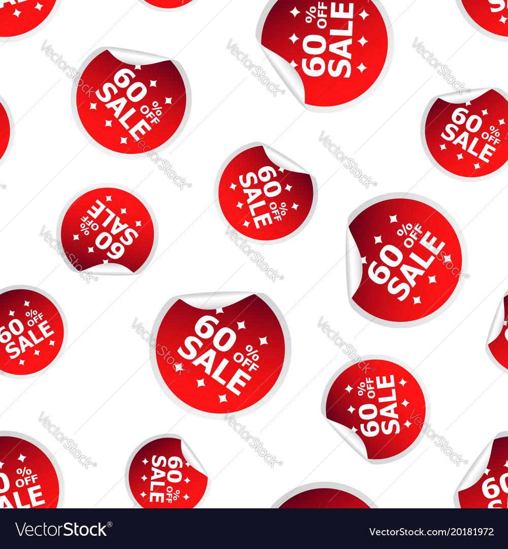 Sale up to 60 percent sticker seamless pattern