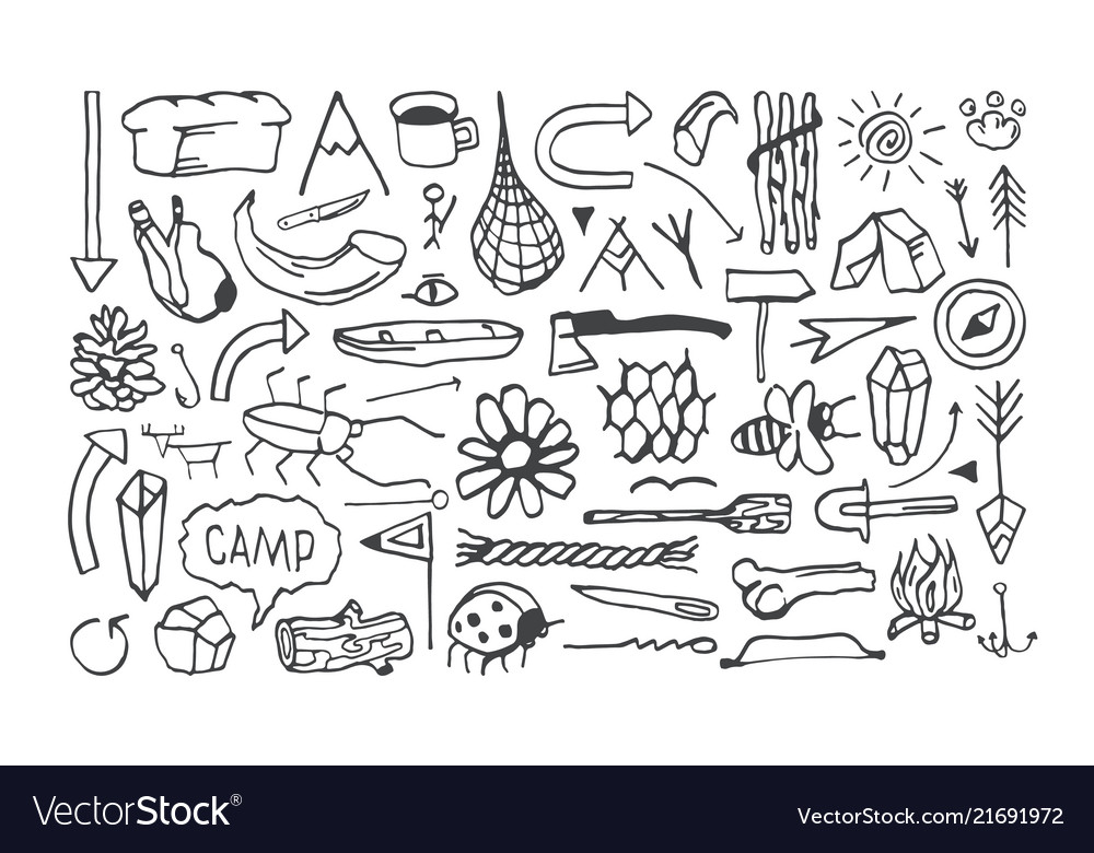 Set of camping icons in the style of hand-drawn