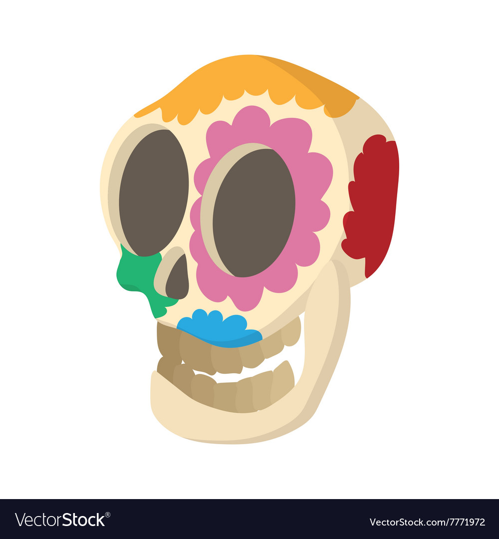 Skull with floral ornament icon cartoon style