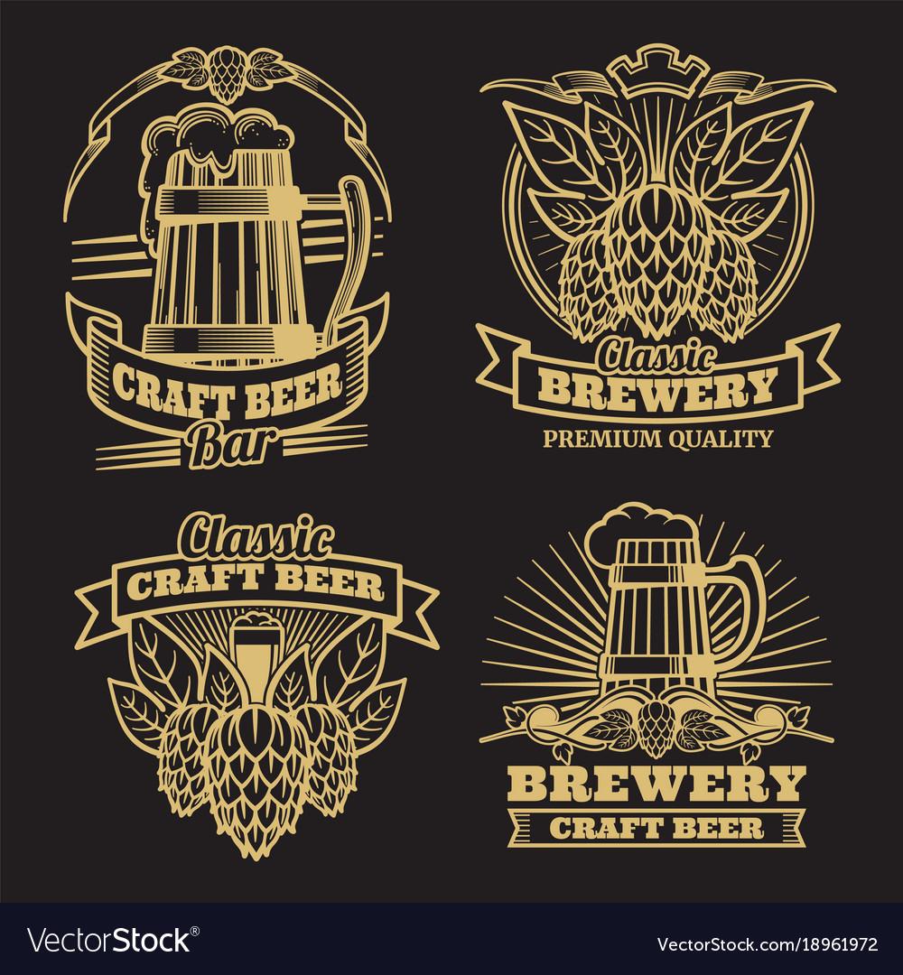 Vintage craft classic beer labels on black