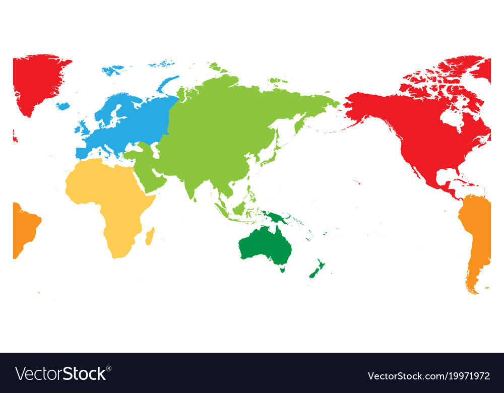 World map divided into six continents asia and vector image gumiabroncs Images