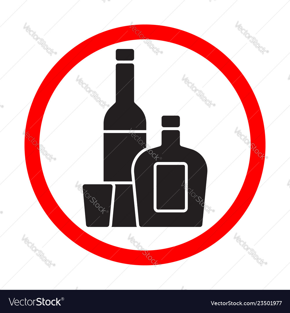 Alcohol bottles black silhouette sign isolated on