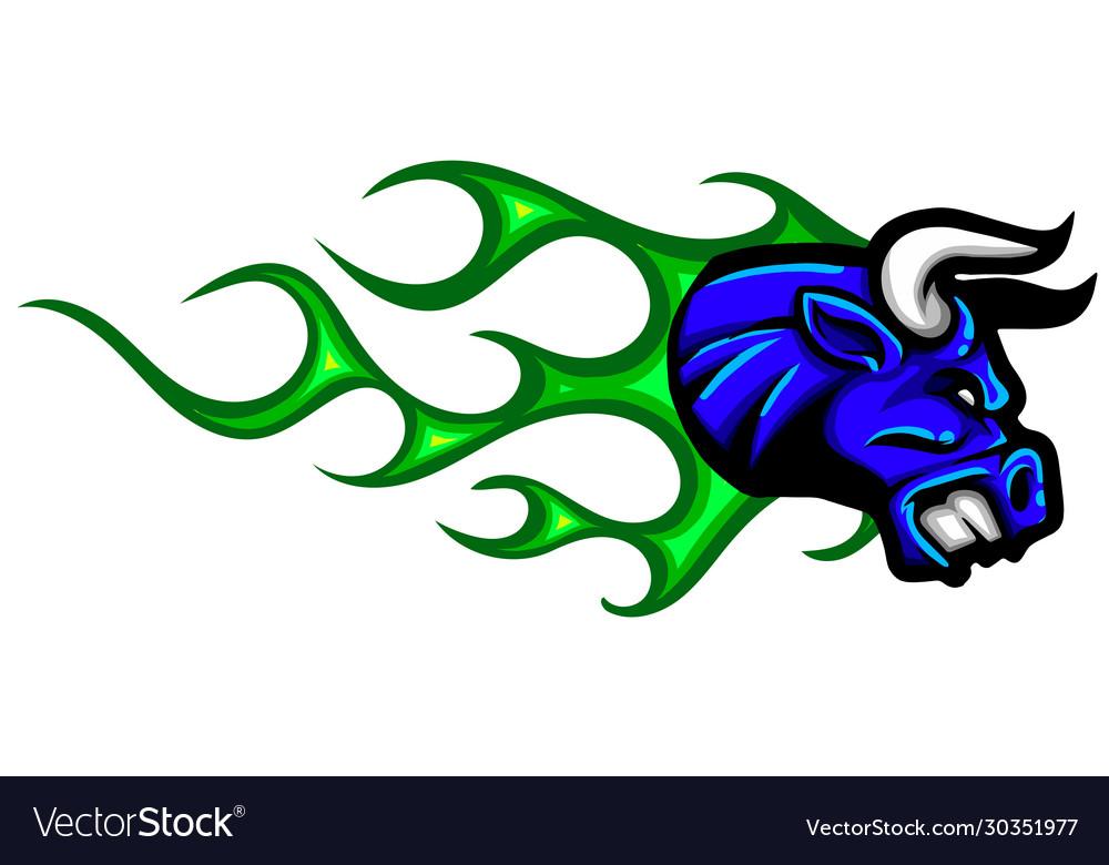 Bull head flame-furious bull and flame background