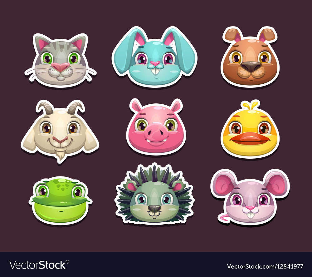 Cute cartoon animal face icons set