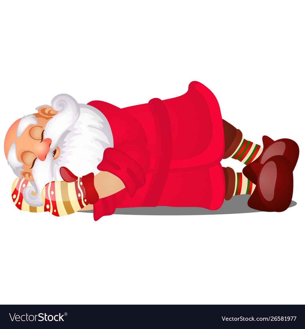 Cute sleeping santa claus isolated on white