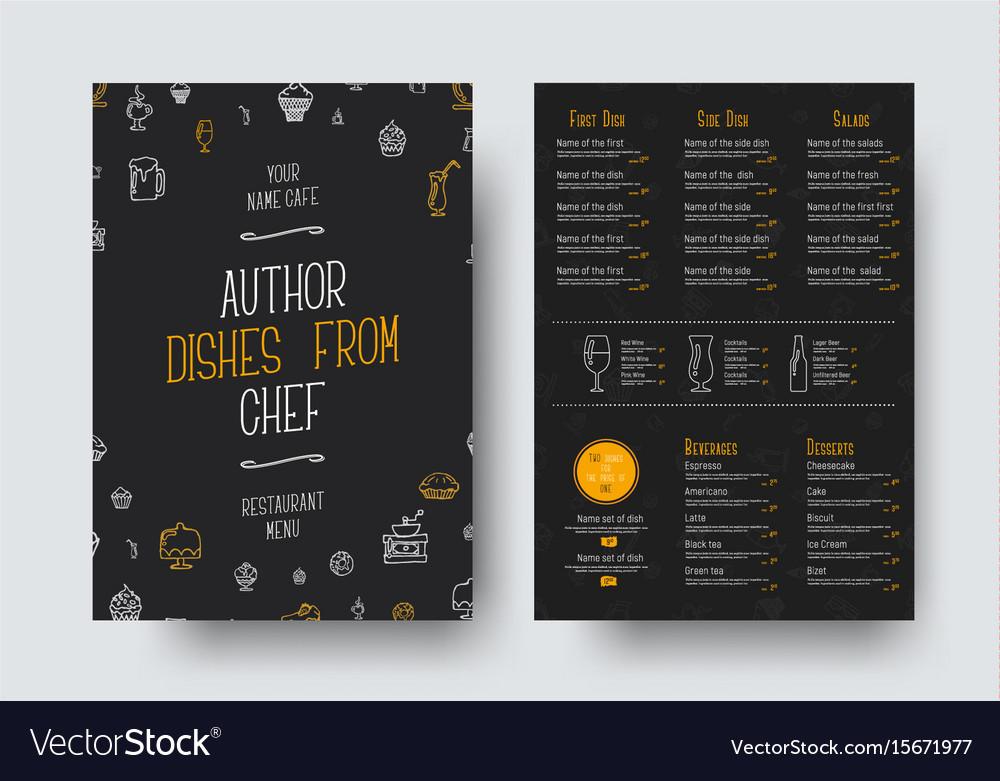 Design a4 size of a black menu for a restaurant