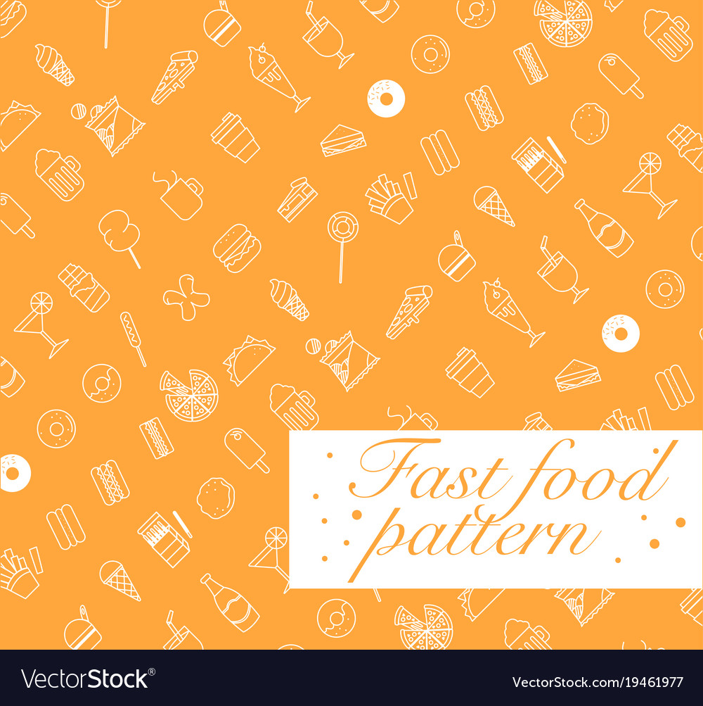 Fast food icons set seamless patterninfographic