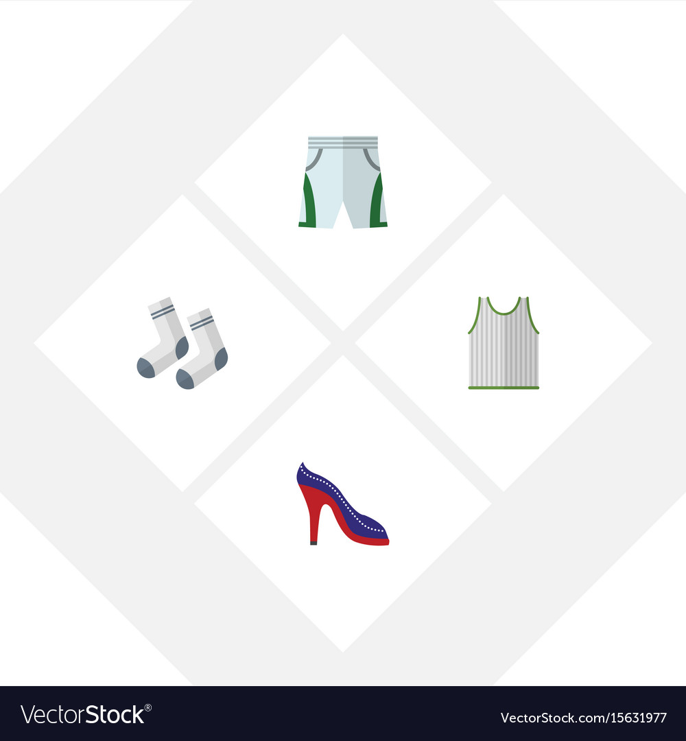 Flat icon clothes set of trunks cloth foot