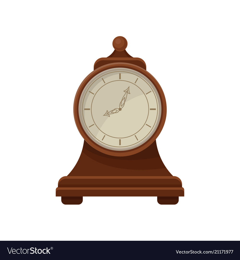 Flat Icon Of Retro Wooden Desk Clock With Vector Image