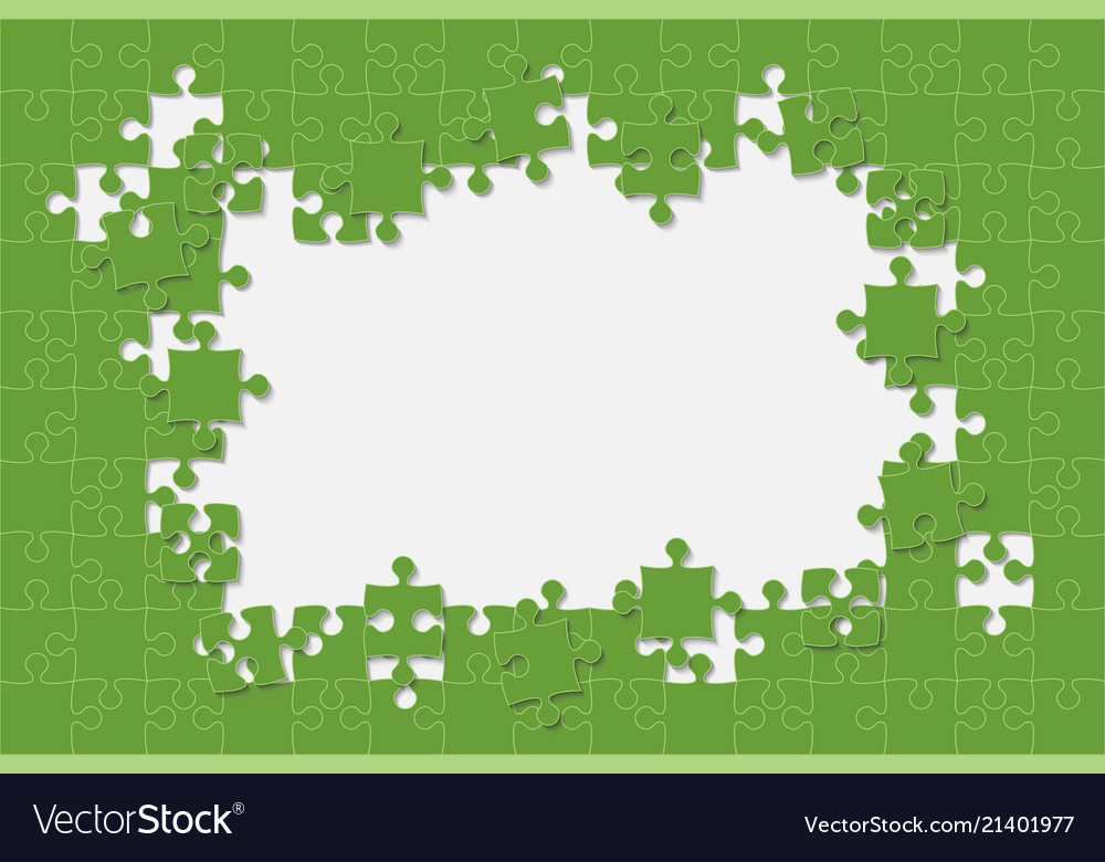 Green background puzzle jigsaw puzzle frame Vector Image