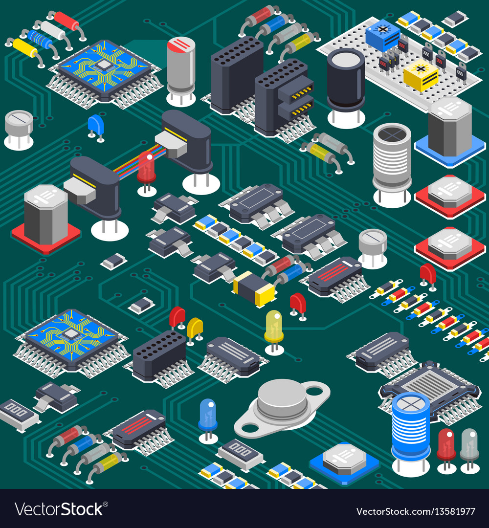 Isometric Circuit Board Composition Royalty Free Vector Assembly Buy Electronic Circuits Boardcircuit Image