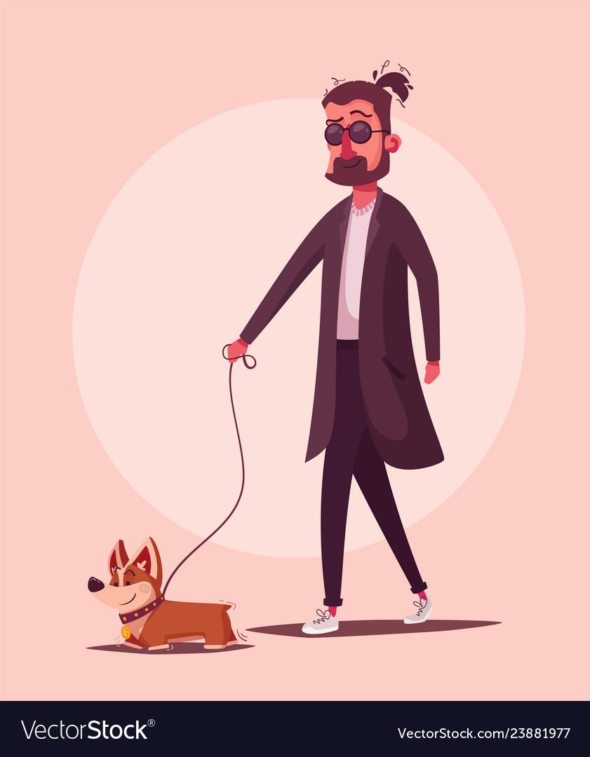 Man is walking with a dog cartoon