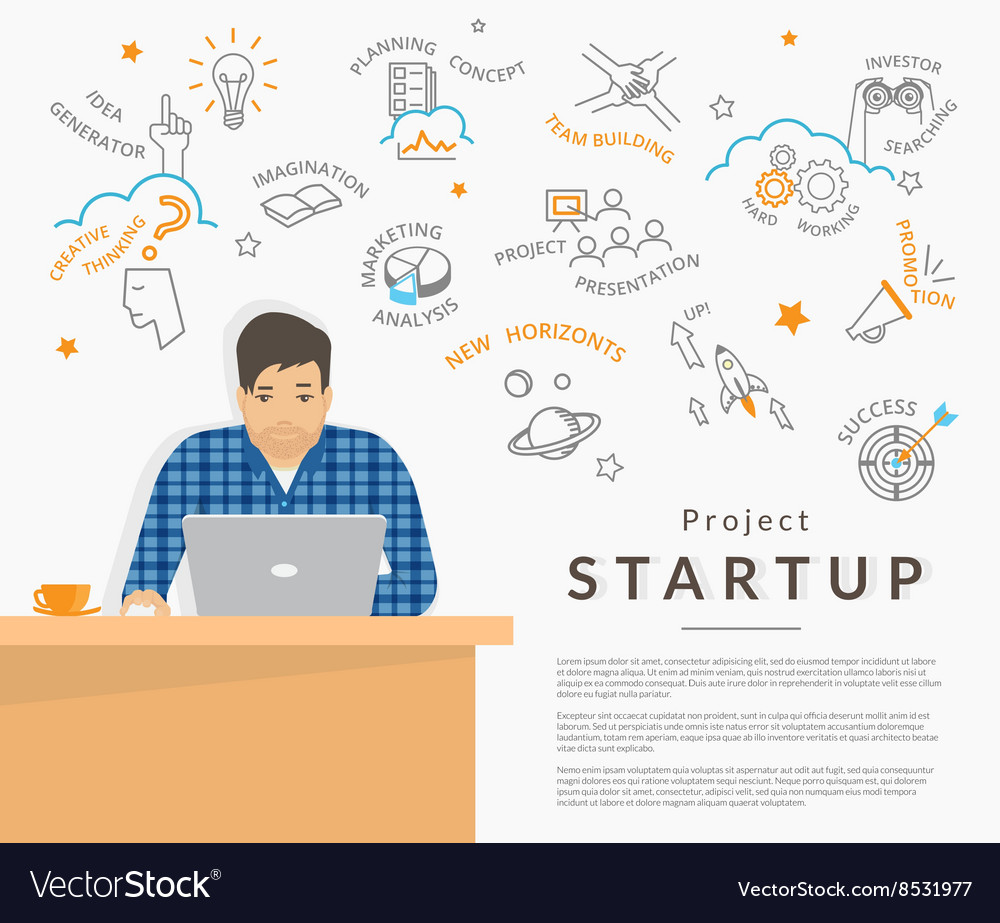 Man sitting at his work desk and planning a vector image